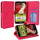 myLife Rose Pink {Classic Design} Faux Leather (Multipurpose - Card, Cash and ID Holder + Magnetic Closing) Folio Slimfold Wallet for the LG G2 Smartphone (External Textured Synthetic Leather with Magnetic Clip + Internal Secure Snap In Closure Hard Rubberized Bumper Holder)