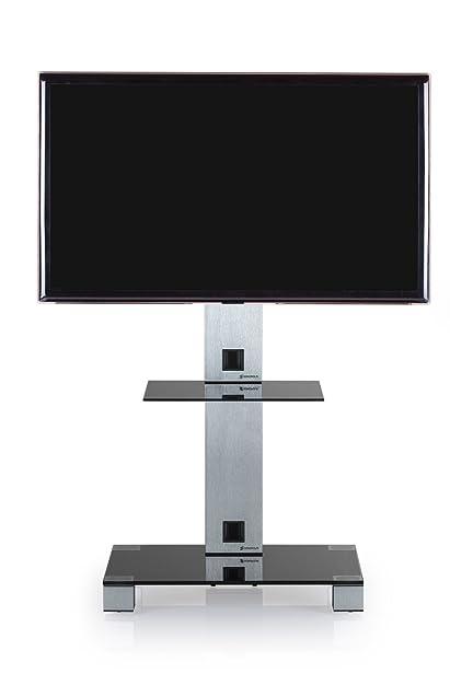 Sonorous PL 2515NG–Base di TV con 1mensola. Alto 108cms. Vetro Nero/Chassis Grigio.