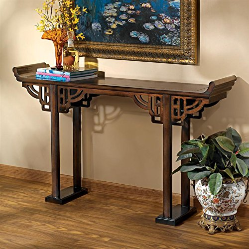 Design Toscano Forbidden City Asian Decor Console Table, 54 Inch, Hardwood, Walnut