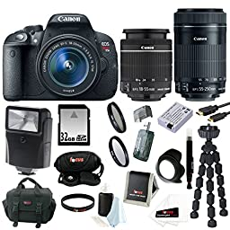 Canon EOS Rebel T5i with EF-S 18-55mm f/3.5-5.6 IS STM Zoom Lens and Canon EF-S 55-250mm f/4-5.6 IS STM plus 32GB Deluxe Accessory Kit
