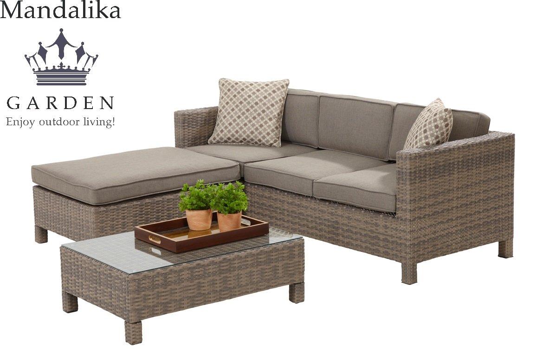 "Mandalika Poly Rattan Lounge Set ""Bayano"" absolut wetterfest – variable Liegefläche, sand Twin Wicker günstig kaufen"