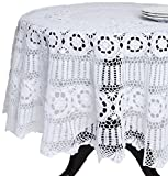 SARO LIFESTYLE 869 Crochet Tablecloths, 36-Inch, Square, White