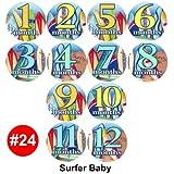 SURFER SPORT SURFING BEACH Baby Month Onesie Stickers stickers, Baby Shower Gift Photo Shower Stickers, baby shower gift