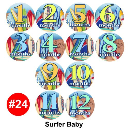 SURFER SPORT SURFING BEACH Baby Month Onesie Stickers stickers, Baby Shower Gift Photo Shower Stickers, baby shower gift