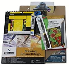 buy Complete Oil Pastel Artist Set With Walter Foster Instruction Book. 24 Louvre Pastels, Canson Pad, Canvas Boards, Palette Knife, And More