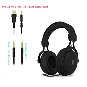 Gaming Headset with Mic,Noise Cancellation Surround Sound Over Ear Headphones with Led Light,Wired 3.5MM Jack Gaming Headphones for Xbox One,PS4,PC,Laptops,Mac,Ipad,iPhone 5,6,7 (Black) (Color: Black)