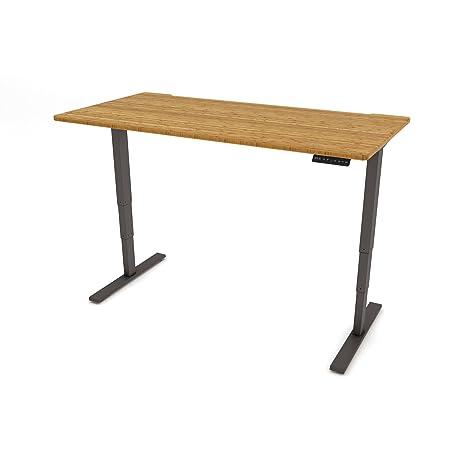 Casa, pequeño o mediano oficina escritorio: madera de bambú y plata marco de la mesa de pie o sentado. Fácil de instalar y usar., Plateado, 1400mm x 800mm