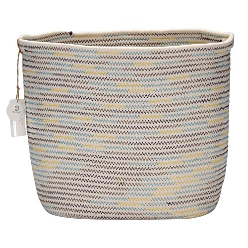 "Review Sea Team 13"" x 9"" Square Natural Cotton Thread Woven Coiled Rope Storage Basket Bin..."