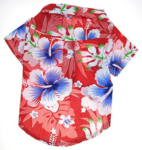 13c30fe8 Casual Hawaiian Beach Red Floral Shirt Dog Clothes For Cat Dog Puppy Pet