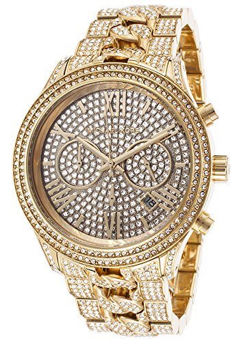 Michael Kors Lindley Chronograph Gold Crystal Pave Dial Gold-tone Ladies Watch MK5899