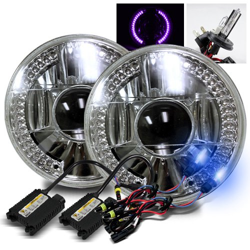 """10000K Deep Blue H4-2 Low Beam Xenon/High Beam Halogen Slim Hid/7"""" Round 6014/6015/6024 Chrome Projector Headlights With Purple Led Ring"""
