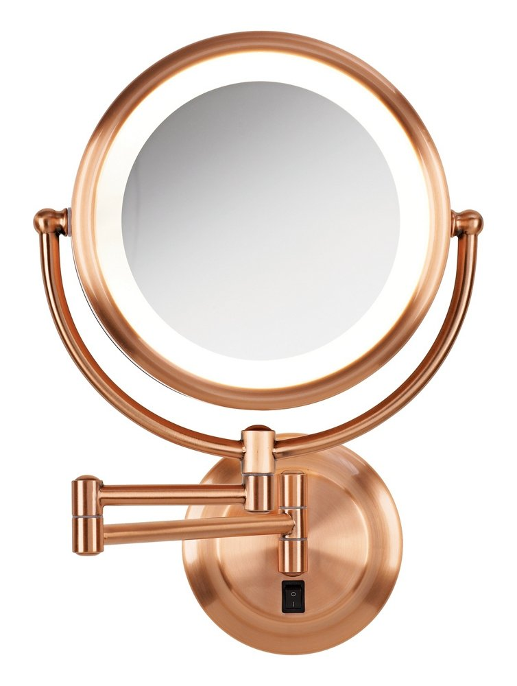Kimball Young Lighted Reversible 5x 1x Hardwired Makeup Mirror