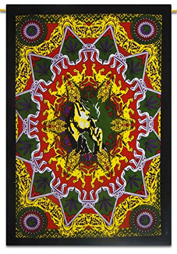 Bob Marley Indian Décor Cotton Tapestry Poster Size Multicolour Wall Hanging 42X30 Inches (Bob Marley Painting compare prices)
