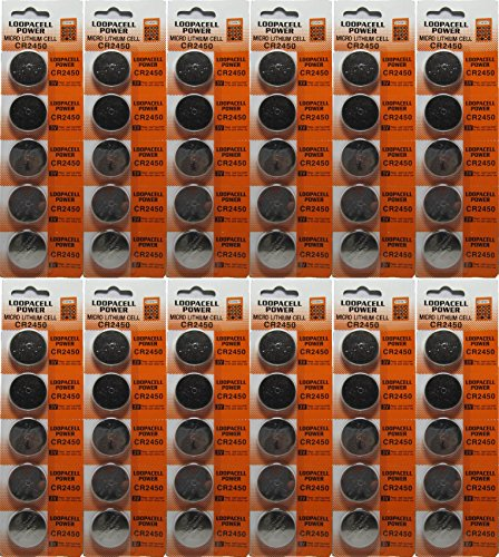 60 Pcs 2450 Batteries (CR2450/ DL2450/ E-CR2450) Lithium 3v (12 Packs of 5) By Loopacell (Car Remote Batteries Cr2450 compare prices)