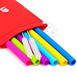 Big Reusable Straws for Smoothies and for 30 oz Tumbler Yeti/Rtic - 6 Straight Wide Reusable Straws + 2 Brushes + 1 Red Storage Pouch - Reusable Drinking Straws Set - Silicone Straws Bundle (Color: pink, Tamaño: Big Reusable Straws)