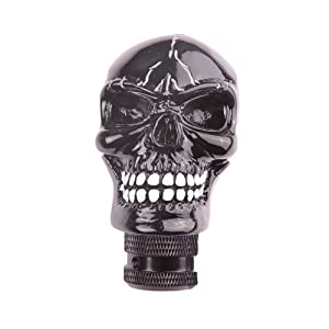 SMKJ Universal Bone Resin Skull Head Style Car Shift Knob Shifter Knobs Lever Gear Stick for Most Manual or Automatic Transmission Vehicles Black