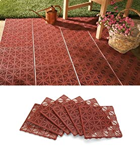 6Pc Interlocking Outdoor Patio Flooring Tile Set