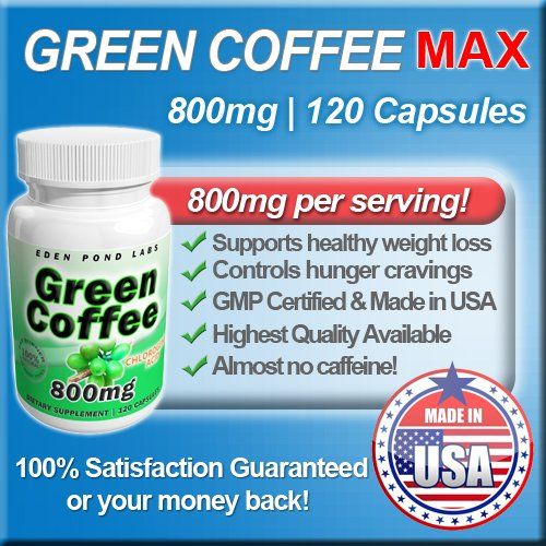 Green Coffee Extract 800mg, Highest Quality, 120 Capsules, Natural Weight Loss, 50% Chlorogenic Acid, 800mg Per Serving
