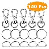 Paxcoo 150 Pcs Key Chain Hooks with Key Rings and D Rings Bulk for Lanyard Supplies (Small Size)