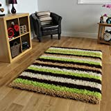 Helsinki Modern Lime, Brown & Beige Striped Deep Shag Pile Rug 1853 - 4 Sizes Available