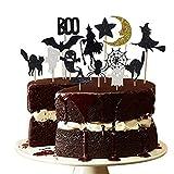 14PCS Halloween Dessert Decoration Topper Set Witch Spider Set Halloween Cake Decoration (Color: A)