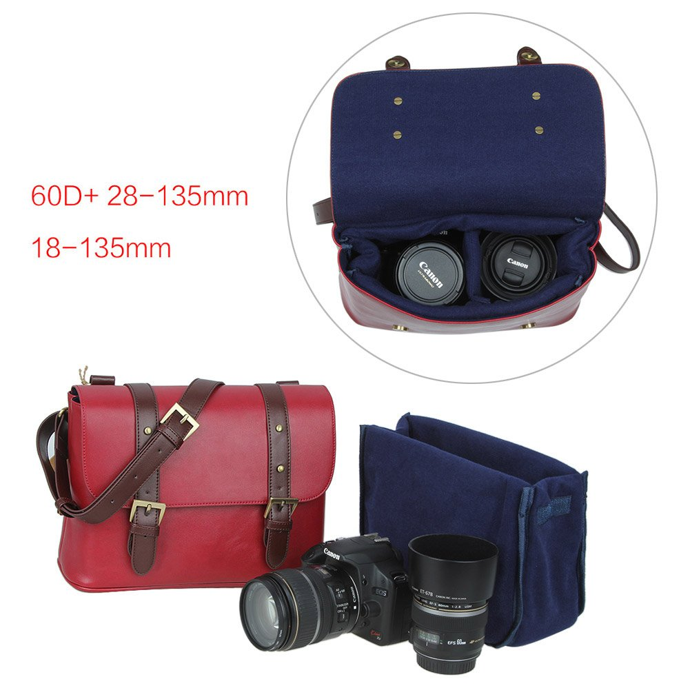 Koolertron Waterproof Vintage fashionable PU Leature DSLR Camera Bag Shoulder Messenger Bag Fit DSLR with 2 lenses For Canon Sony Nikon Canon Olympus And So On 4