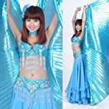 Special Lake Blue opaque wings Egypt style , Exotic Big Belly Dance Isis Wings,for Performance/clothing Props(contain the rods)