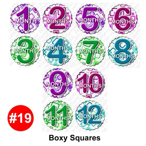 BOXY SQUARES Baby Month Onesie Stickers Baby Shower Gift Photo Shower Stickers, baby shower gift by OnesieStickers