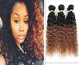 Moresoo 1 Bundle Ombre Naturel Noir/Auburn (1b/30) 24Pouces/60cm 2 Couleur Bresilien Remy Ombre Cheveux Kinky Curly Hair Extensions 100gram