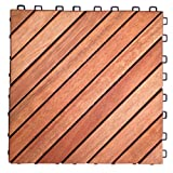 VIFAH V182 Interlocking FSC Eucalyptus Deck Tile 12-Slat Diagonal Design, 10-Pack, Natural Wood Finish, 11 by 11 by 1-Inch