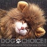 【DOGCHOiCE】 ライオンたてがみ帽子 犬猫用 ふかふかあったかいのでお昼寝に最適 (TYPE-B/ダーク)
