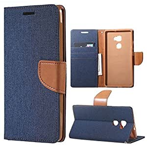 Aart Fancy Wallet Dairy Jeans Flip Case Cover for MicromaxA104 (NavyBlue) By Aart Store
