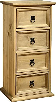 Corona 4 Drawer CD Chest in Distressed Waxed Pine by Corona