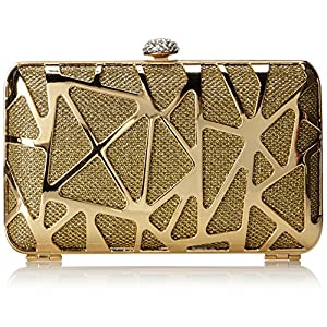 MG Collection Madlyn Metallic Abstract Rhinestone Clasp Box Minaudiere Evening Bag, Gold, One Size