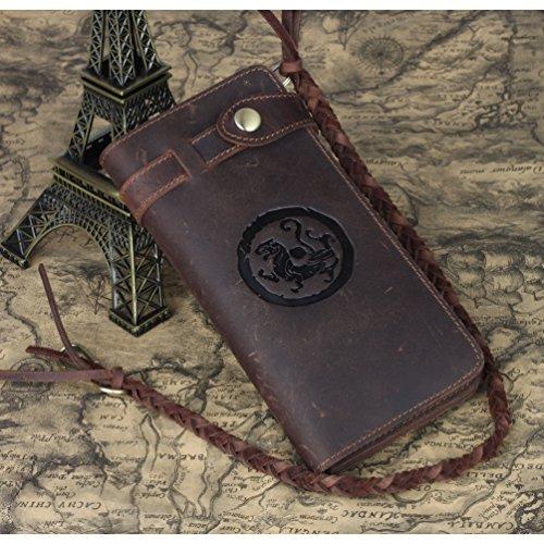 Tiding Men's Brown Crazy Horse Leather Wallet Vintage Style Card Holder Bifold 33777 4