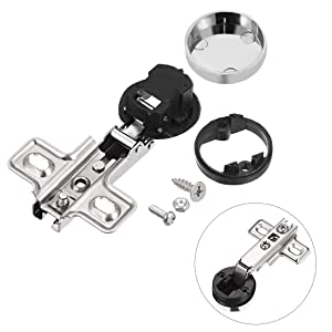 uxcell Dia 33mm Hole Concealed Hinge for Cabinet Glass Door Full Overlay 2 Pcs (Tamaño: Style 1, 2 pcs)
