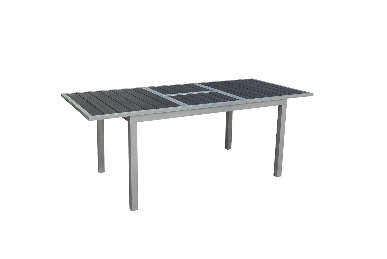 GARTENFREUDE Gartenmöbel Aluminium Garten Tisch ausziehbar 147/200 x 90 x 75 cm mit Non Wood Platte, anthrazit