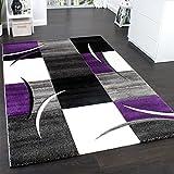 Designer Carpet With Contour Cut Chequered In Purple Black Creme , Size:160x230 cm