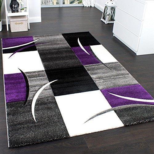 Designer-Teppich-mit-Konturenschnitt-Teppich-Kariert-Lila-Schwarz-Grau-Grsse80x150-cm
