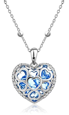 "Swarovski Element White Crystal and Heart Filled Blue CZ Pendant Necklace, 29.5 + 2"" Extender"