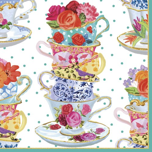 Caspari Entertaining Luncheon Napkin, Pink Tea Cups, 20-Pack