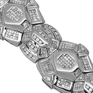 14K White Gold Mens Diamond Bracelet 16.54 Ctw