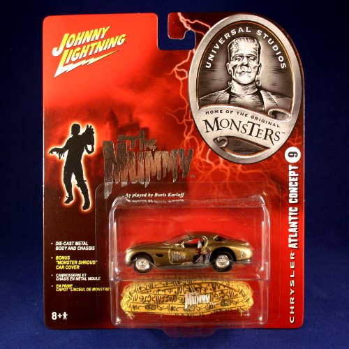 "CHRYSLER ATLANTIC CONCEPT #9 * THE MUMMY * Johnny Lightning 2005 UNIVERSAL STUDIOS MONSTERS 1:64 Scale SERIES 2 Die Cast Vehicle & ""Monster Shroud"" Car Cover"