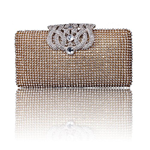 Heyjewels Women Lady Elegant Wedding Bridal Evening Clutch Purse Champagne Bling Rhinestone Handbag
