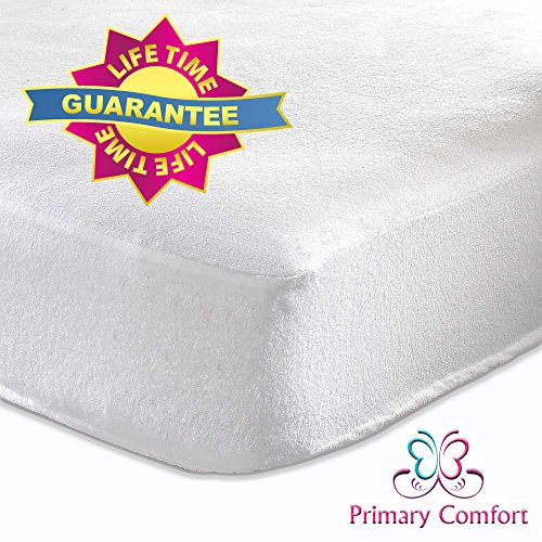 "The Best Crib Mattress Protector by Primary Comfort - All Natural, Waterproof - Soft, Topper Style Fitted Mattress Pad for Baby Crib and Toddler - Protects Child From Allergies, Allergens and Dust Mites - *100% Lifetime Guarantee* - Stain Protection and High Quality Design - FREE EBook ""Baby Health Tips"""