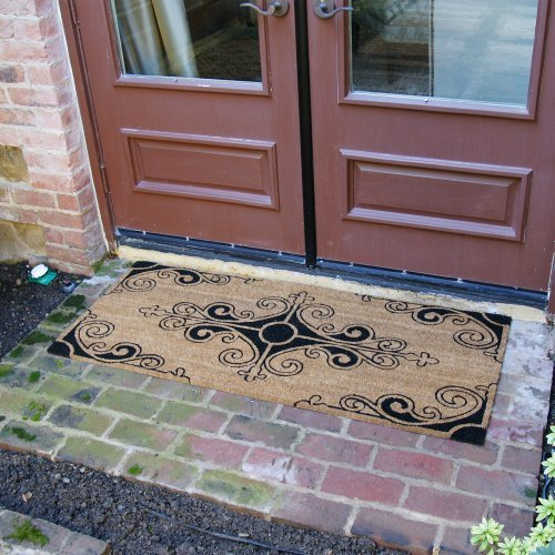 Rubber cal traditional fleur de lis french mat large front door mat 24 by 57 inch home garden - Fleur de lis doormat ...