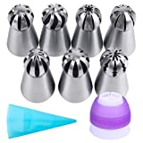 Lashary Russian Piping Tips Set, 7 Pcs Russian Ball Tips with Reusable Pastry Bag, Cake Decorating Tip Sets, Russian Ball Tips for Cake Decorating, Large Piping Tips Set for Cookie Cupcake Decorating