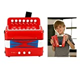 Elloapic Children's Kids' Accordion Keyboard Instruments with 7 Treble Keys, 3 Air Valves, Hand Strap, Early Learning Eduction Instrument Music Toy Red