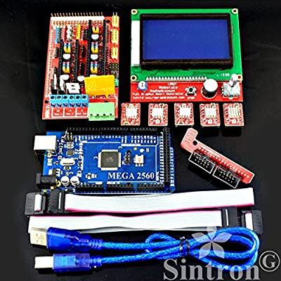 [Sintron] 3D Printer Controller Kit RAMPS 1.4 + Mega 2560 R3 + 5pcs A4988 Stepper Motor Driver with Heatsink + LCD 12864 Graphic Smart Display Controller with Adapter For Arduino RepRap