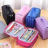 BAOBAO 4 Layer Students Pen Storage Bag 72 Inserting Super Large Capacity Pencil Case(Grey)